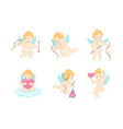 cartoon characters cupids set vector image vector image