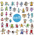 cartoon robot characters big set vector image vector image