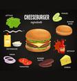 cheeseburger ingredients fast food vector image
