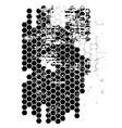 dirty grunge hexagonal grid technology background vector image