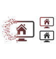 disappearing pixel halftone realty monitoring icon vector image vector image