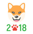 Dog chinese zodiac of 2018 year flat icon