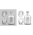 empty bottle and shot glass side and top view set vector image