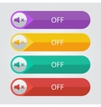 flat buttons sound off vector image vector image