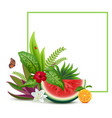 floral vegetable template greeting card frame vector image vector image