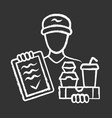 Food delivery chalk icon express courier service