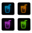 glowing neon glass with water and tube for vector image vector image
