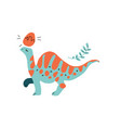 green dinosaur with long neck and orange stripes vector image