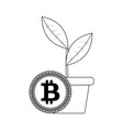 growth bitcoin price line style vector image vector image