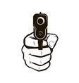 gun in hand firearm pistol vector image