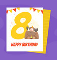 happy birthday banner template with funny monster vector image vector image