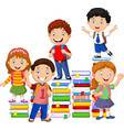 happy schoolkids playing with stack book vector image vector image