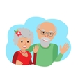 Happy senior couple waving his hand vector image