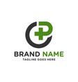 health clinic logo with letter cp vector image vector image