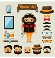 Hipster character elements for nerd boy vector image