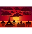 landscape with indonesian temples in sunset vector image vector image