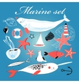 Marine set of different elements vector image vector image