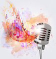 old microphone and musical notes vector image vector image
