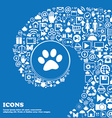 paw icon sign Nice set of beautiful icons twisted vector image vector image