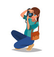 photographer woman photo equipment camera vector image