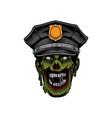 police zombie head halloween logo template vector image
