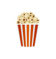 popcorn in striped bucket isolated on white vector image