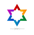 rainbow Star abstract design element vector image vector image