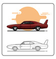 retro maroon sport cars side view vector image