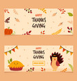 set holiday banners for thanksgiving day vector image vector image