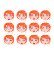 set of female emotions of red-haired girl flat vector image vector image