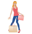 Shopping girl in casual wear2 vector image vector image