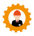 silhouette in shape of gear with engineer with vector image vector image