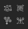 social media marketing chalk white icons set vector image