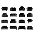 sofa icons set vector image vector image