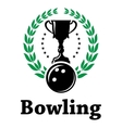 Sport bowling league label with laurel wreath vector image vector image