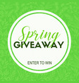 spring giveaway card template for blogs vector image vector image