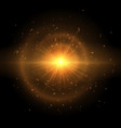 the golden star explodes in the sky vector image vector image