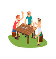 three men playing dominoes outdoors friends vector image vector image