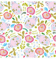 white pattern with pink mouse and flowers vector image