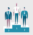 winner business people on pedestal concept of vector image