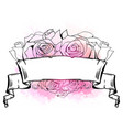 with curled ribbon heart roses and pink vector image