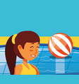 young woman in pool luxury scene vector image