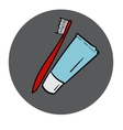 Tube of toothpaste and tooth brush round icon vector image