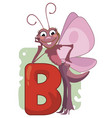 b letter butterfly vector image vector image