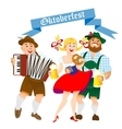 bavarian men and woman with a big glass of beer vector image vector image