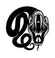 black snake round sign vector image