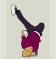 blond guy in dark blue pants and purple t-shirt vector image