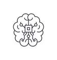 brain chipset line icon concept brain chipset vector image