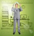 business man hides under the laptop vector image