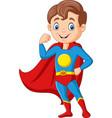 cartoon happy superhero boy posing vector image vector image